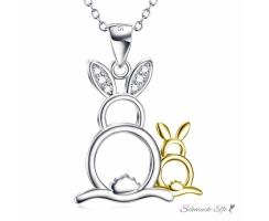 Anh�nger Mutter Hase & Kind Hasi aus 925 Silber mit...