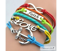 Armband Anker Love & Faith Multicolor   im Organza Beutel