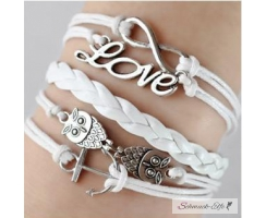 Armband Euly Anker Infinty & Love weiß  im Organza Beutel