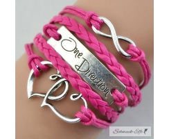Armband Infinity One Direction Hot PINK  im Organza Beutel