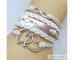 Armband Infinity One Direction LOVE weiß  im Organza Beutel