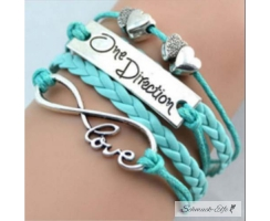 Armband Infinity One Direction türkis/ mint  im Organza...