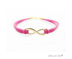 Armband Infinity Schleife gold pink  im Organza Beutel