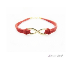 Armband Infinity Schleife gold rot  im Organza Beutel