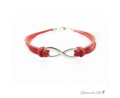 Armband Infinity Schleife rot im Organza Beutel