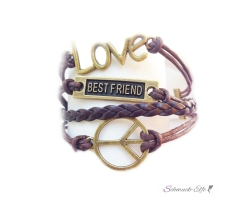Armband LOVE PEACE BEST FRIENDS braun