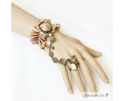 Barock Armband  Satin Rose  mit  Strass Ring Butterfly