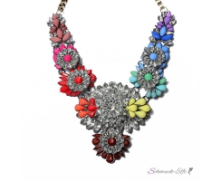 Blüten Statement Collier Strass Multicolour Gold  im...