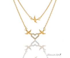 Collier Follow Your Heart  Zirkonias  mit 18 K Gelbgold...