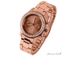 Damen Armbanduhr  COFFEE  GLAM Strass