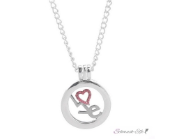 Floating Charms  LOVE  Herz  Strass  inkl. Halskette