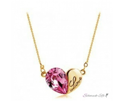 HERZ Restless Heart Swarovski Elements pink mit 18k...