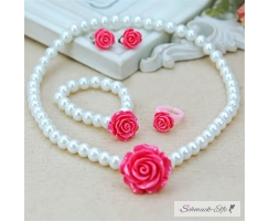 KINDER Schmuck Set  Kette , Armband, Ohrclips & Ring Rose