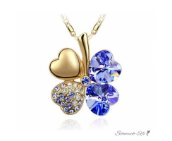 Kleeblatt Swarovski Elements  Gold Royal blau  inkl....