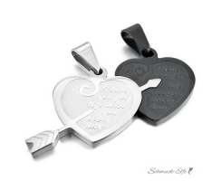 Partnerketten Herz I LOVE YOU FOR LIFE  Edelstahl schwarz...