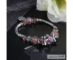 Perlen  Armband  Follow your Heart rosa   im Organza Beutel