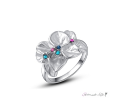 Ring Flower Zirkonias multicolor mit 18 K Weißgold...