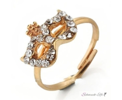 Ring Maske Strass gold