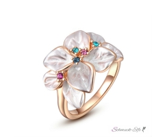 Ring White Flower Zirkonias multicolor mit 18 K Rosegold...
