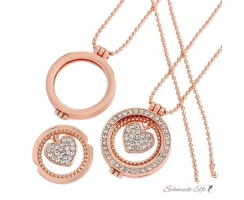 Rose Gold Floating Charms Herz  Medaillon ohne GLAS inkl....