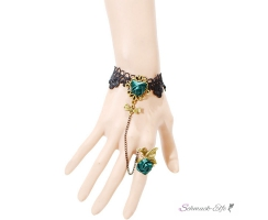 Schmuck Set Barock Armband GREEN ROSE Butterfly aus...