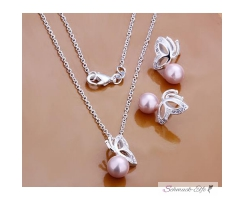 Schmuck Set Kette & Ohrringe Rose Perle Schmetterling...