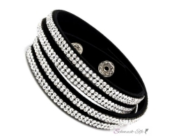 Wickel Lederarmband Strass GLAM  BLACK & WHITE   im...