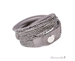Wickel PU  Lederarmband Strass magic grey  im Organza Beutel