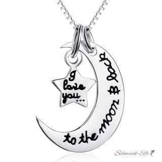 3 tlg. Set  Anhänger Mond to the moon and back  & Stern  i love you  aus 925 Silber  inkl. Kette im Etui GRAVUR OPTION