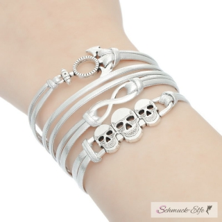 Armband Anker & Infinity & Skull silber im Organza Beutel
