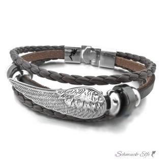 Armband edelstahl engelsfl gel echt leder dunkel braun im for Barhocker leder braun edelstahl