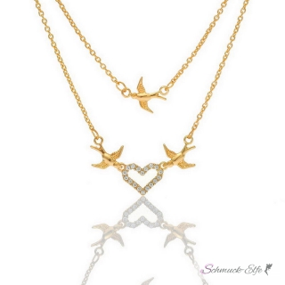 Collier Follow Your Heart  Zirkonias  mit 18 K Gelbgold vergoldet  im Schmuck Beutel
