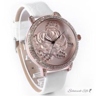 damen armbanduhr 3d rose mit zirkonias rosegold wei 109 13 c. Black Bedroom Furniture Sets. Home Design Ideas