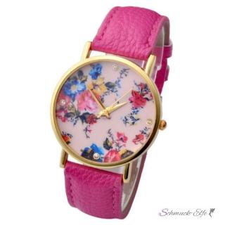 damen armbanduhr vintage rosen mit zirkonia gelbgold pu leder pink 3. Black Bedroom Furniture Sets. Home Design Ideas