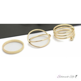 6 tlg. Ring Set Midi Knuckles Rings gold
