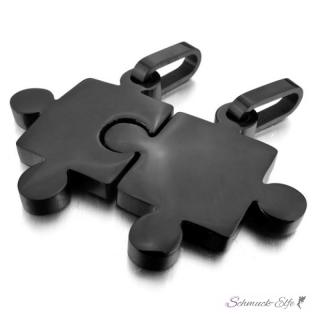partnerketten puzzle schwarz edelstahl inkl ketten im etui gravur 109 13 chf. Black Bedroom Furniture Sets. Home Design Ideas