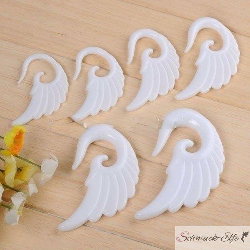 Flügel Expander / Plug weiß 3 mm - 10 mm 1 cm