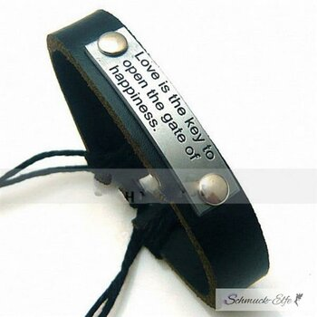 Echt  Lederarmband Love is the Key Gravur schwarz  im...