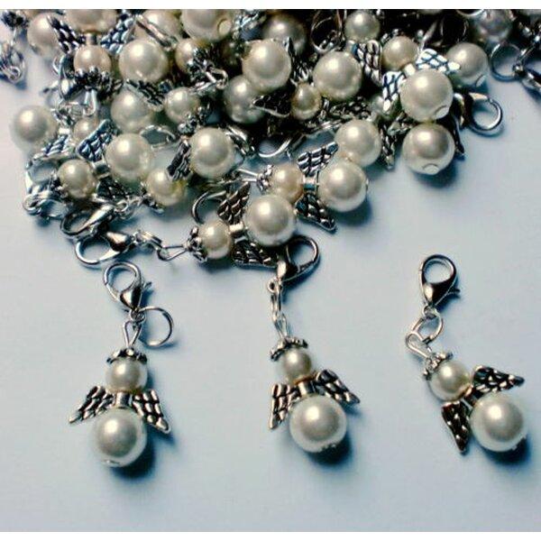 Charm Engel Tibet Silber Weiße Perle Im Organza Beutel 5 99