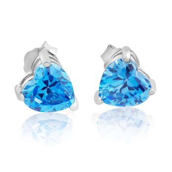 1 Pair of Ear Plugs Heart Aquamarine 925 silver