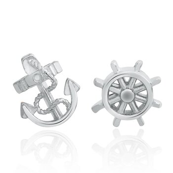 1 pair of ear studs anchor and steering wheel 925 silver