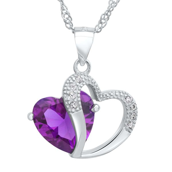 Silver Pendant Amethyst Heart incl. chain