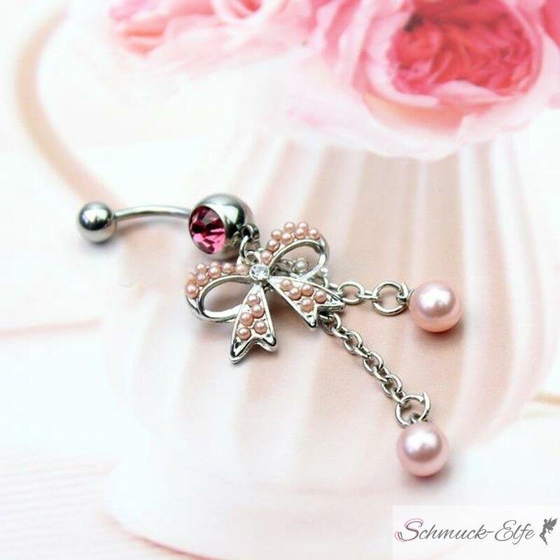 Bauchnabel Piercing rosa Perle mit Schleife 316...