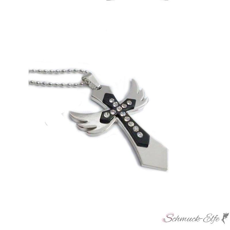 Kreuz Anhänger Engel mit Strass inkl. Kette im Organza Beutel