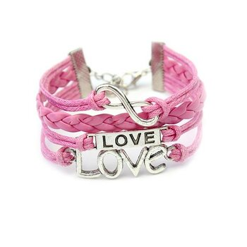 Armband LOVE & Infinity rosa  im Organza Beutel