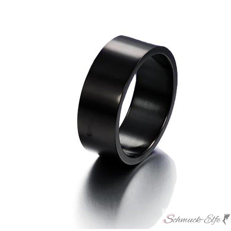 Schwarzer Edelstahl Herrenring 316 L schwarz / glänzend 8mm
