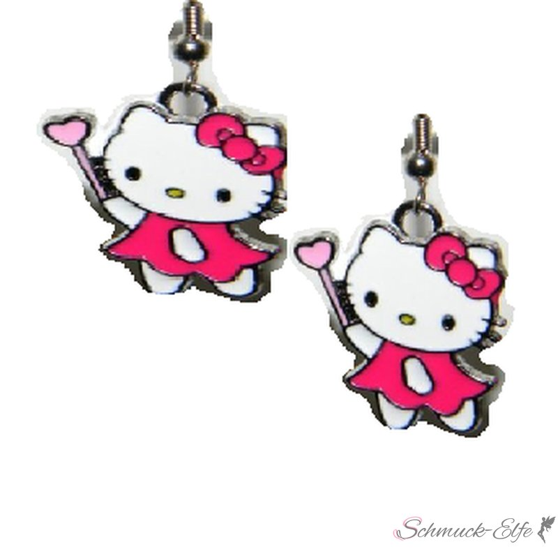 1 Paar Ohrringe / Hänger Katze mit Feen Stab Em...
