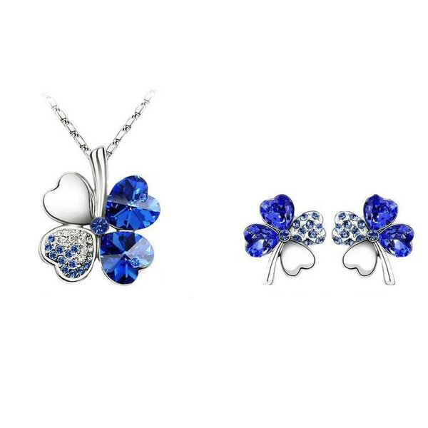 Schmuckset Kleeblatt Collier, Ohr Stecker Royal blau Strass vergoldet