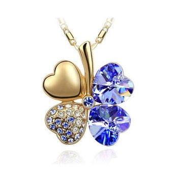 Kleeblatt Swarovski Elements Gold Royal blau inkl. Kette...