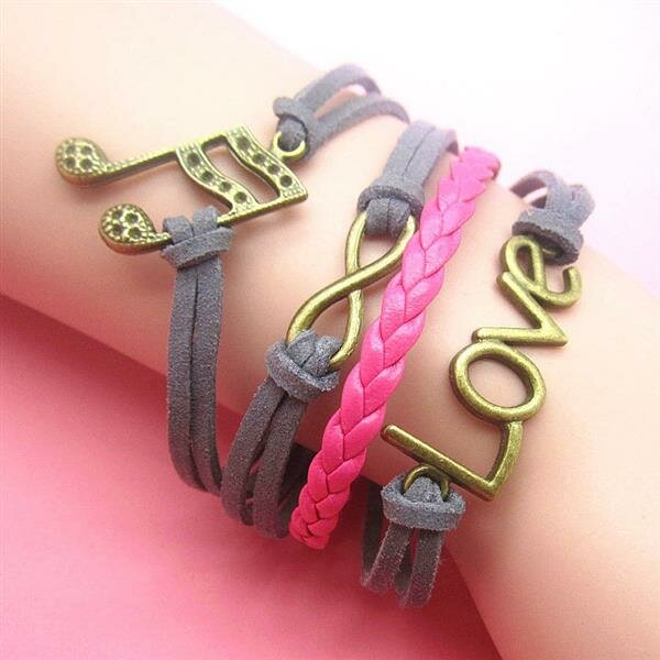 Armband NOTE & Love pink grau
